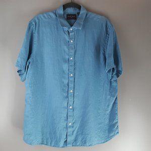 Black Brown Men's Linen Short Sleeve Button Shirt
